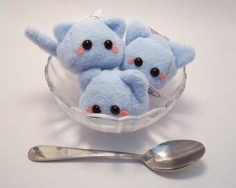 Kawaii Cat Cube Plushie Keychain stuffed animal in soft blue fleece