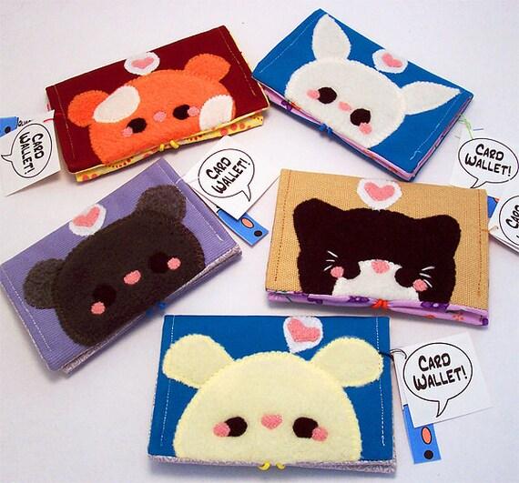 Kawaii Animal Wallets Hamster Bunny Mouse Cat or Dog credit card holder