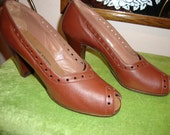 1940s Brown Leather Open Toe Heels Excellent Condition