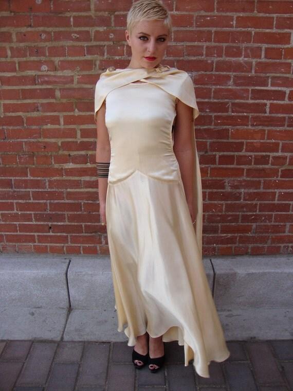 1920s Ivory Peau de Soie Satin Flapper Art Deco Art Nouveau Formal Gown with Cape