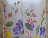 Handpainted Floral Silk Chiffon Scarf for Spring