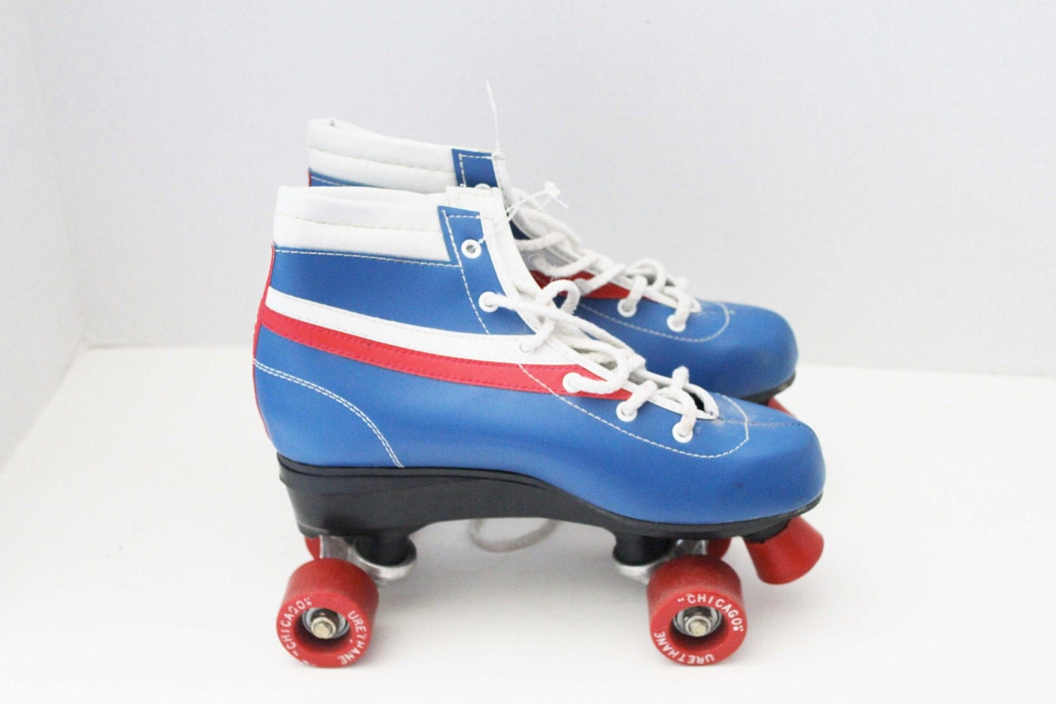Old School Roller Skates in Red White and Blue