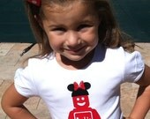 Personalized Lego Girl with Minnie Bow Vinyl Iron-On
