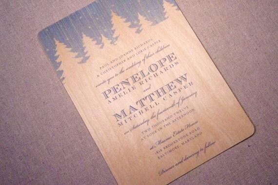 Real Wood Wedding Invitations: Real Wood Wedding Invitations Snowy Pine By
