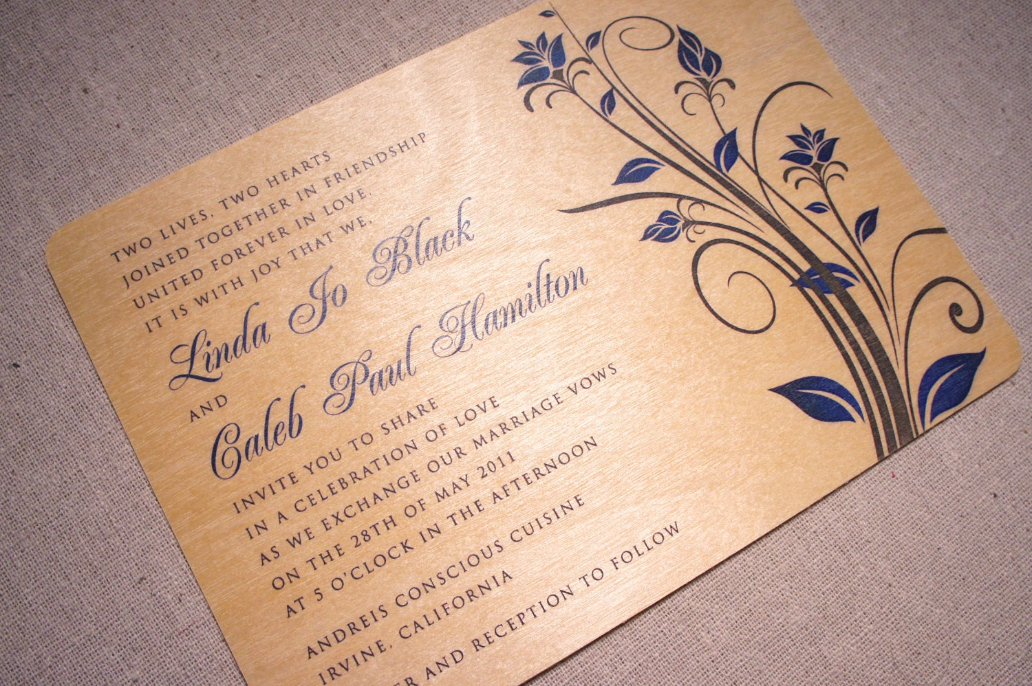 Real wood wedding invitations blue flowers by woodchickstudios for Wedding invitations with real flowers