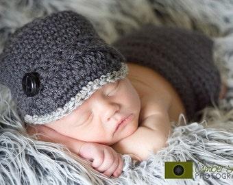 Newborn Brimmed Hat & Diaper Cover