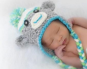 Sock Monkey Hat, Crochet Monkey, Halloween Costume, Newborn Photo Prop, Gray Monkey,  Baby Animals, Nursery, Handmade Hats for Baby