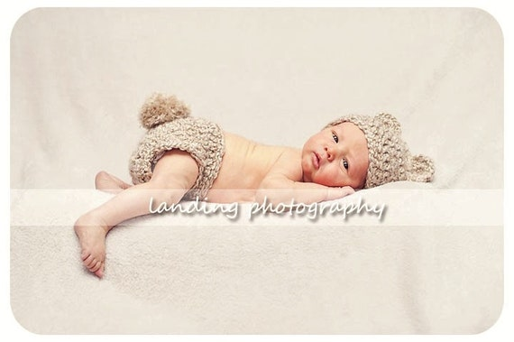 Teddy Bear Hat and Diaper Cover