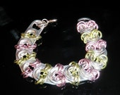 TABZ - handcrafted soda tab / pop tab/ pull tab jewelry bracelet in light green and pink