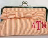 Seersucker Clutch with Monogram - Small Wrap Bow