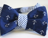 Seersucker and Anchors Bow Tie