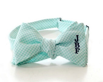 Monogrammed Bow Tie - Mint Green Gingham