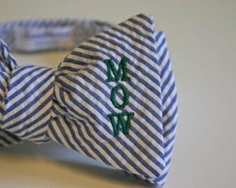 Monogrammed Bow Tie - Seersucker