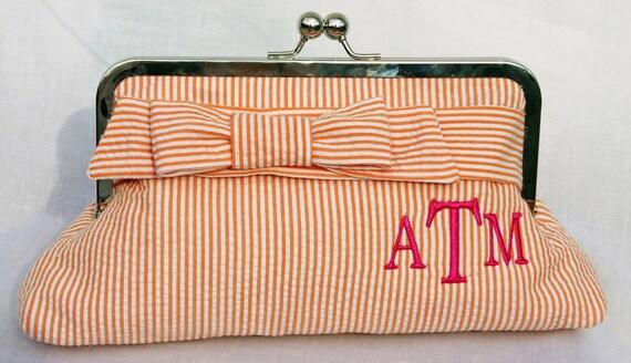 Seersucker Clutch with Monogram - Small Wrap Bow