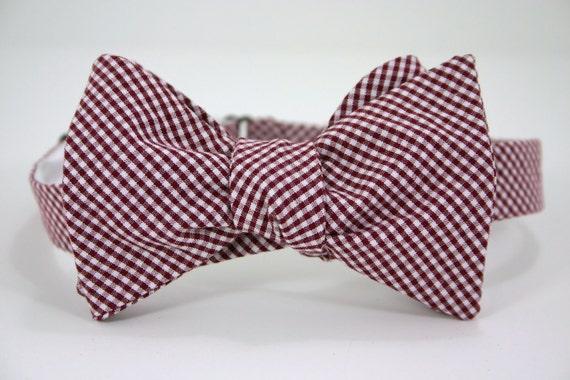 Garnet Check Bow Tie