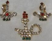 Vintage Christmas Rhinestone Brooch and Earrings Set