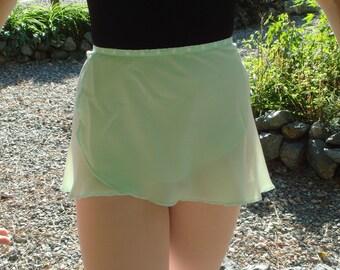 """13"""" Mint Green Chiffon Ballet Wrap Skirt"""