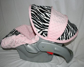 All Minky Zebra and light pink super soft Infant Car Seat Cover - Comes with Free strap Covers
