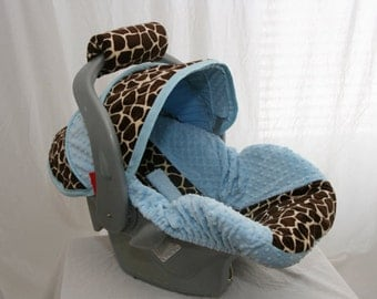 All Minky Giraffe and Blue Minky- Boy Custom Infant Car Seat Cover Always comes with FREE Strap Covers