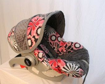 Pink & Gray floral Infant car seat cover, girl baby seat cover, baby custom car seat cover - FREE reversible strap covers- Made to order