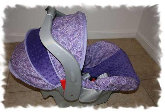 purple paisley cover with purple minky infant car seat cover. Black Bedroom Furniture Sets. Home Design Ideas