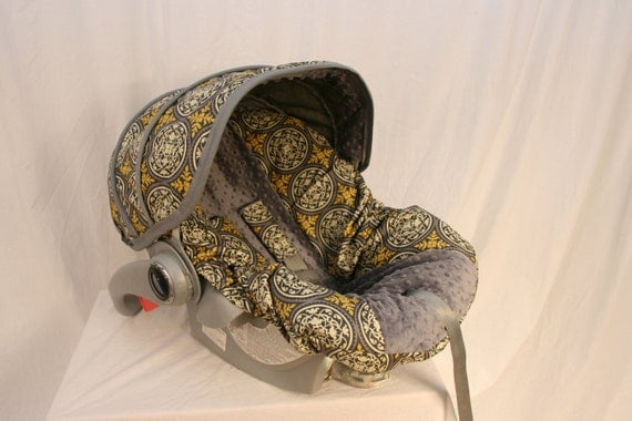Avairy with Charcoal minky- baby Boy Infant car seat cover- Custom Order Always comes with Free Strap Covers