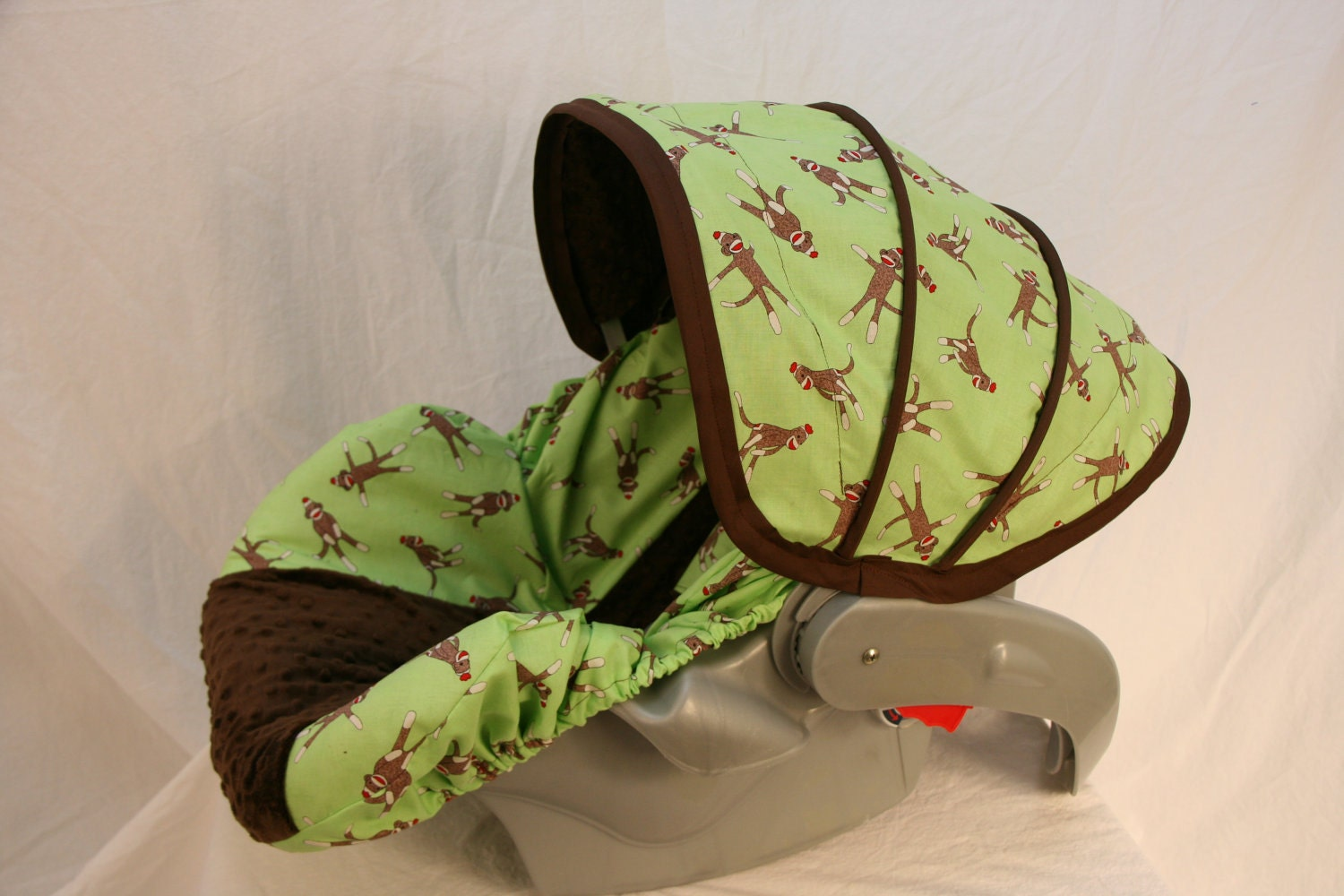 Last One Sock Monkey Infant Car Seat Cover Custom Order