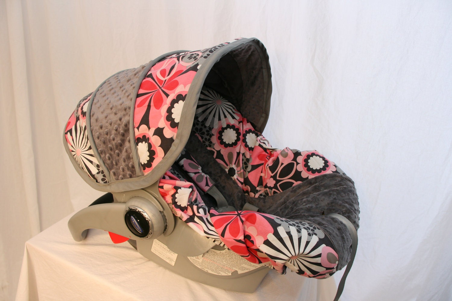 Baby Girl Infant Car Seats: Pink & Gray Floral Infant Car Seat Cover Girl Baby Seat