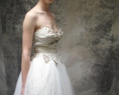 50s white lace and tulle wedding gown w rhinestone details