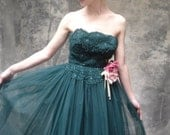 50s forest green tulle gown