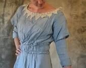 Edwardian Cornflower Blue Seersucker  Work Day Dress
