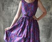 Handmade by Petrune 1950s Vintage Inspired Wrap Dress in  Cobalt & Magenta