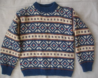 Childs Handknit Scandinavian Sweater Norway