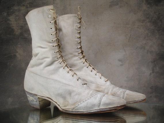 Victorian steampunk canvas boots