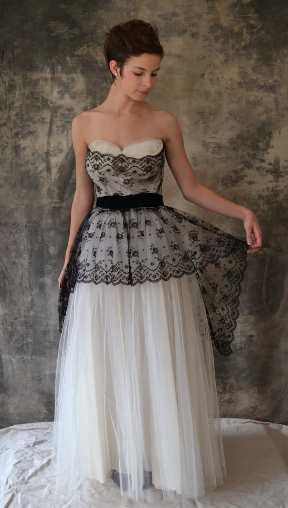50s black and white lace and tulle gown