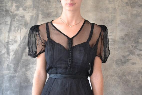 40s black sheer dress