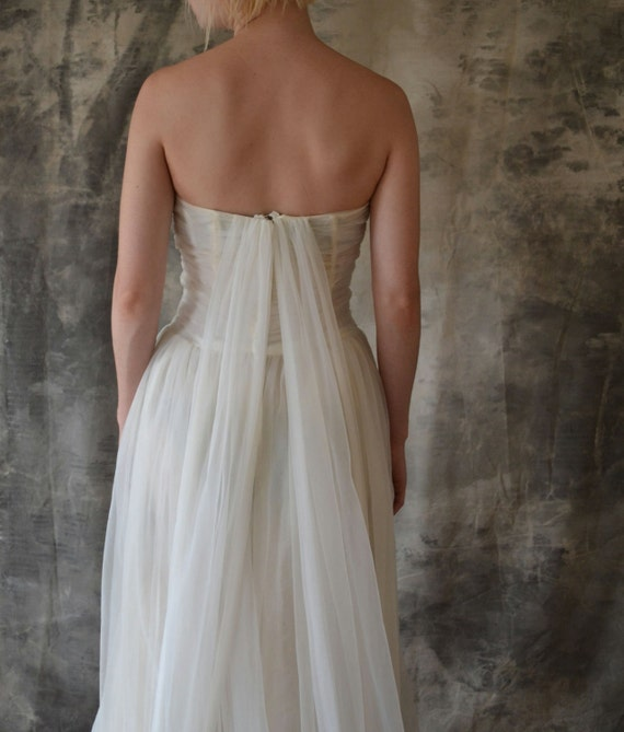 Vintage Wedding Dresses Birmingham: 1950's Gossamer White Gown/Wedding Dress
