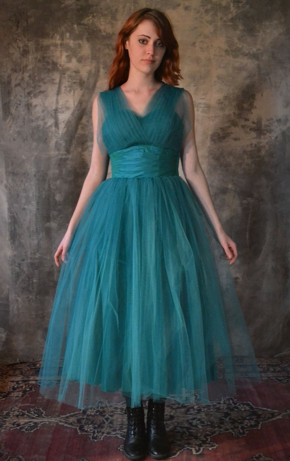 1950's Teal Party Dress