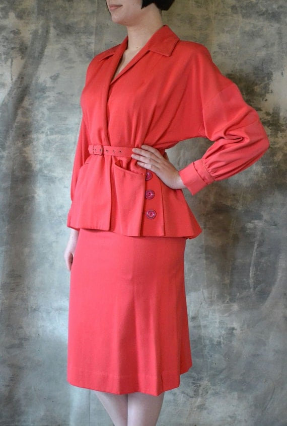 1940's Bright Coral Suit