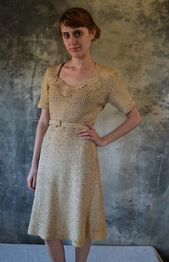 1940's Incredible Woven Ribbon Day Dress