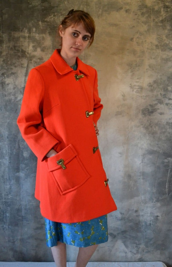 1960's Asymmetrical Mod Scarlet Poppy Coat with Brass Clasps