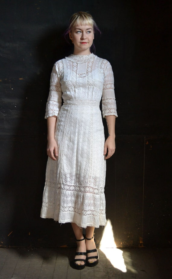 Victorian White Lace Summer Day Dress