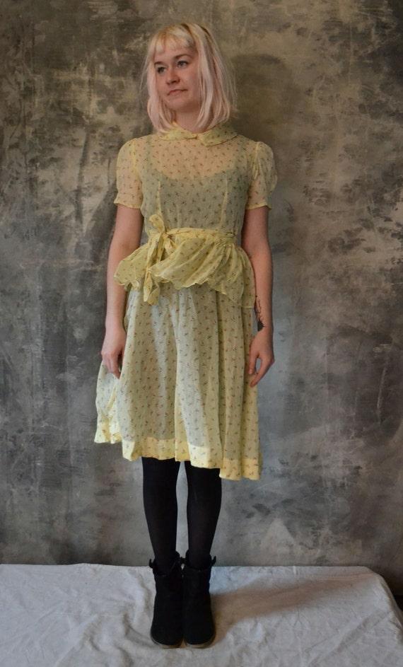 Charming 1940's Yellow Rosebud Organdy Dress