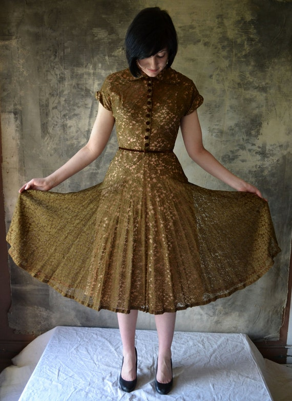 1950's Hazel Lace Dress with Velvet Buttons