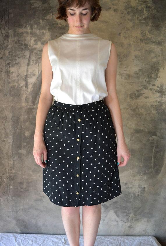 1980's Chanel Chic Black Pencil Skirt