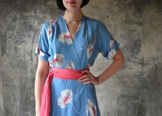 1940's Asian Inspired Powder Blue Poppy Print Wrap Dress
