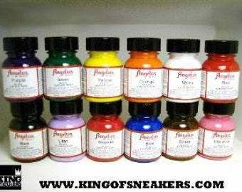 Angelus Leather Acrylic Paint Set 12 1oz Jars