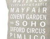 Bus Scroll Cushion Cover 35 x 35 - LONDON Flax