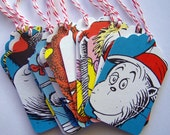 Dr. Seuss Tags Recylced from Various Vintage Dr. Seuss Books 1 3/4 x 2 3/4 inch