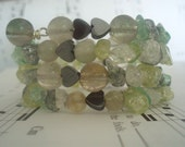 Cheyanne - Energy Wire Wrap Bracelet - Peridot Mix Crackled Glass Hematite & Glass